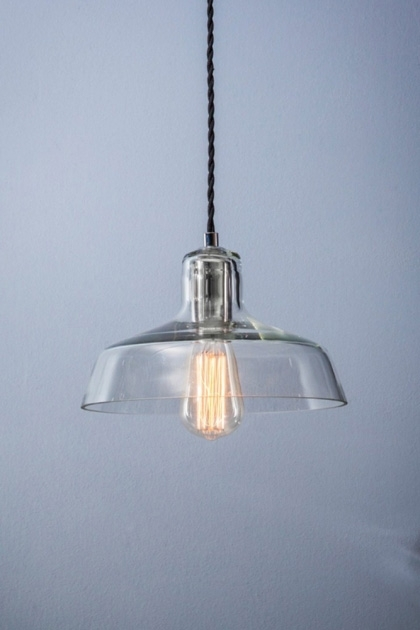 lifestyle image of Hoxton Glass Pendant with pale grey wall background