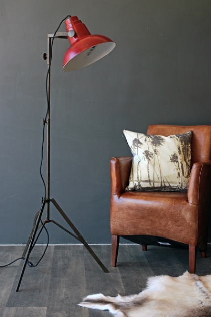 Industrial Film Floor Lamp with Red Shade
