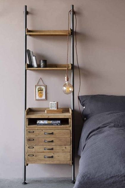 Industrial-Style Ladder Shelf Unit With 2 Drawers