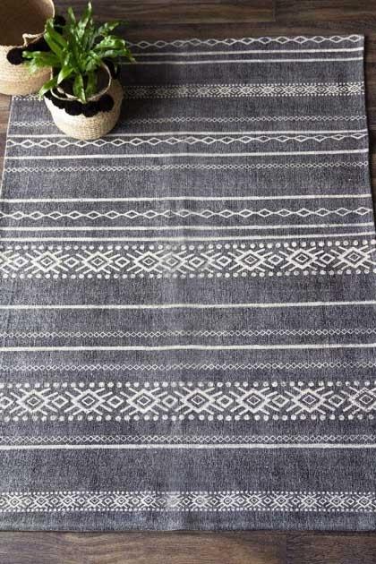 Kochi Black & Natural Diamond Stripe Cotton Rug