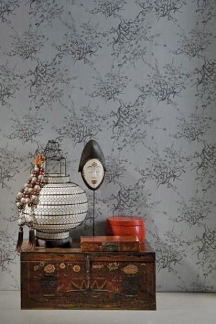 lifestyle image of Kyoto Wallpaper - 3 Grey Shades Available behind wooden chest with large oriental style ornaments on top