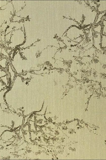 Image of Kyoto Wallpaper - Gold 01 khaki coloured oriental style trees on gold background