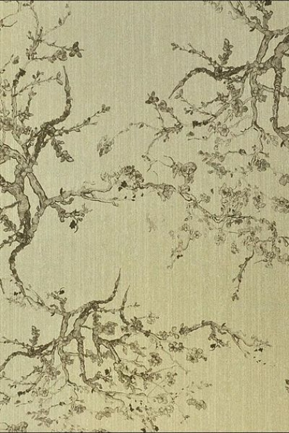detail image of Kyoto Wallpaper - 2 Gold Shades Available oriental tree pattern