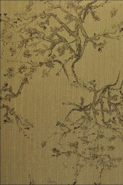 cutout Image of Kyoto Wallpaper - Gold 02 khaki oriental style trees on fold background