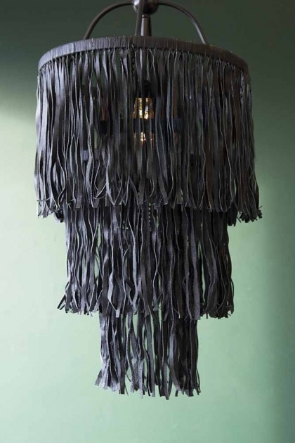 Leather Tassel Chandelier - Black