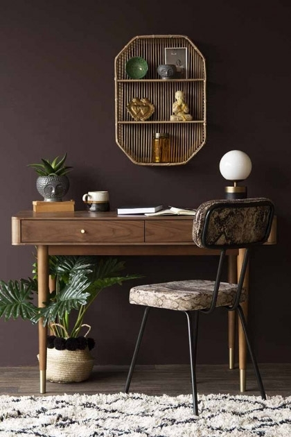 Lifestyle image of the Mid-Century Design Two Drawer Desk