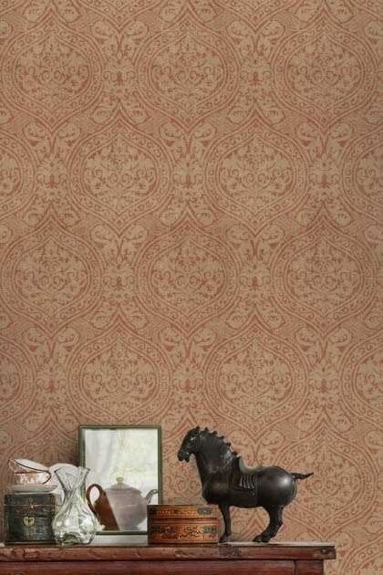 lifestyle image of Mind The Gap Damask Wallpaper with desk with black horse ornament and other vintage style ornaments