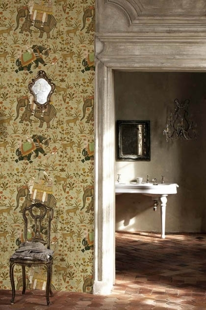 lifestyle image of Mind The Gap The Mysterious Traveler - Hindustan Wallpaper next to doorway with wooden chair and wall mirror with white desk in next room