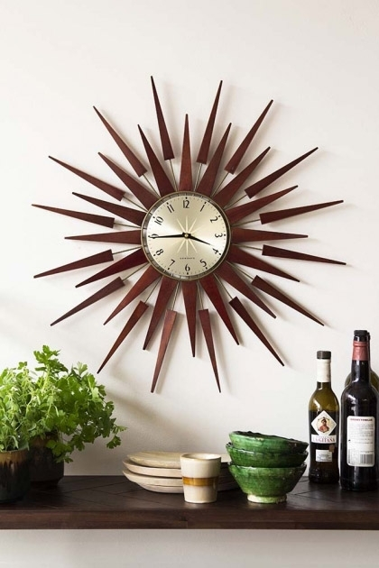 Newgate Mid-Century Style Sunburst Wall Clock
