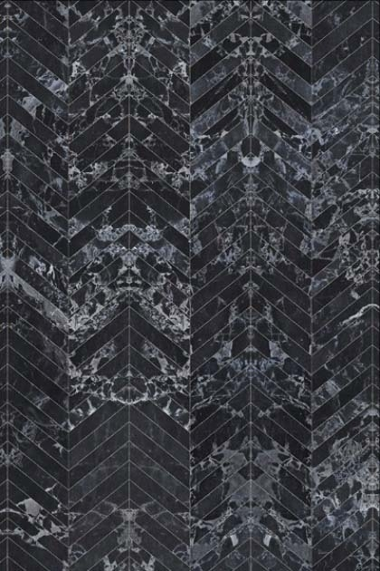 detail image of NLXL PHM-55 Black Marble Herringbone Tiles Wallpaper By Piet Hein Eek