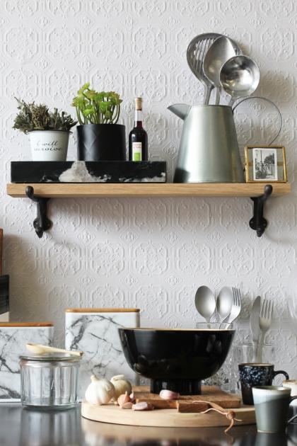 Oak Shelf With Cast Iron Brackets - Small