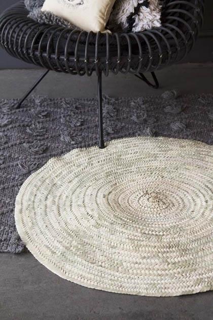 Original Moroccan Round Hand-Woven Jute Rug