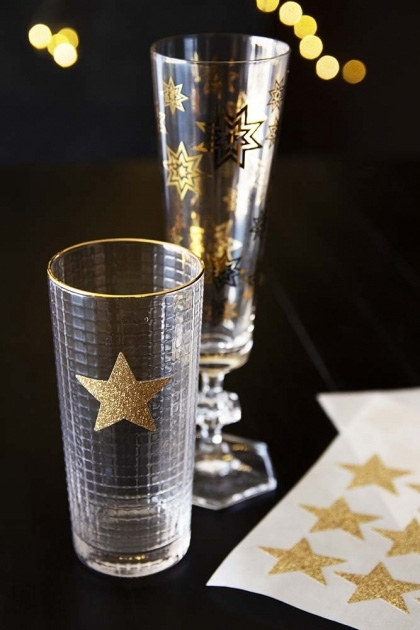 Pack Of 24 Sparkling Glitter Star Stickers - Gold