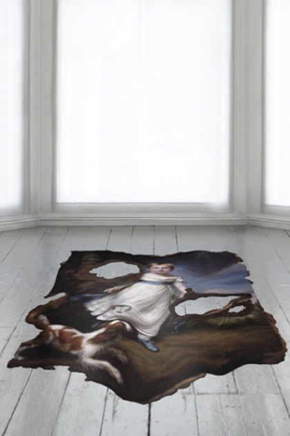 lifestye image of Pastoral Cowhide Rug on white wooden flooring and white windows in background