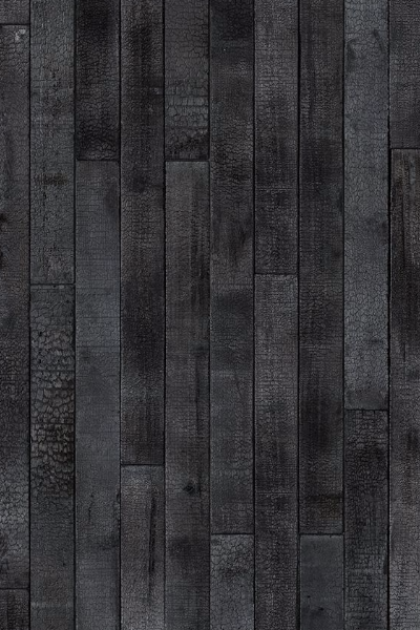 cutout Image of NLXL PHM-35 Burnt Wood Wallpaper By Piet Hein Eek black wood repeated pattern