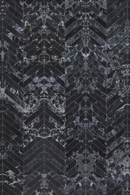 NLXL PHM-55 Black Marble Herringbone Tiles Wallpaper By Piet Hein Eek