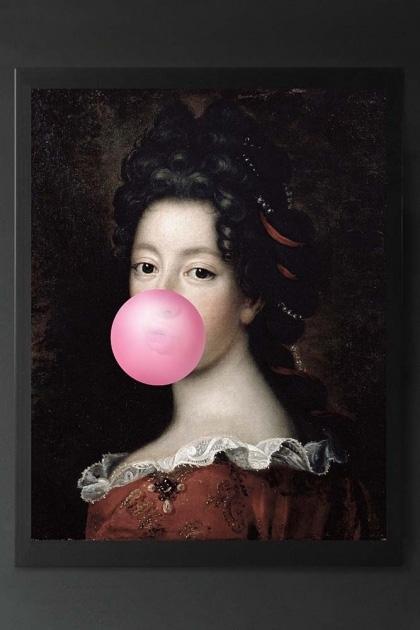 Pink Bubblegum Traditional Lady Portrait Canvas