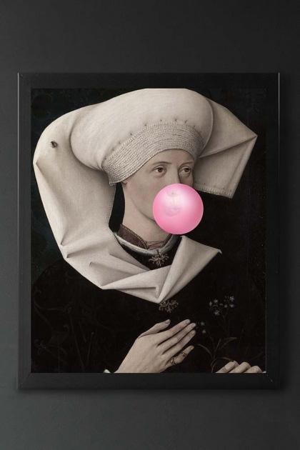 Pink Bubblegum Viscountess Portrait Canvas