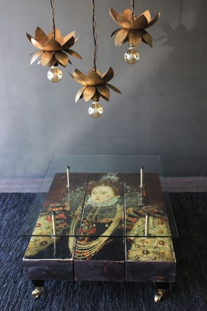 Queen Elizabeth I Reclaimed Coffee Table With Glass Top