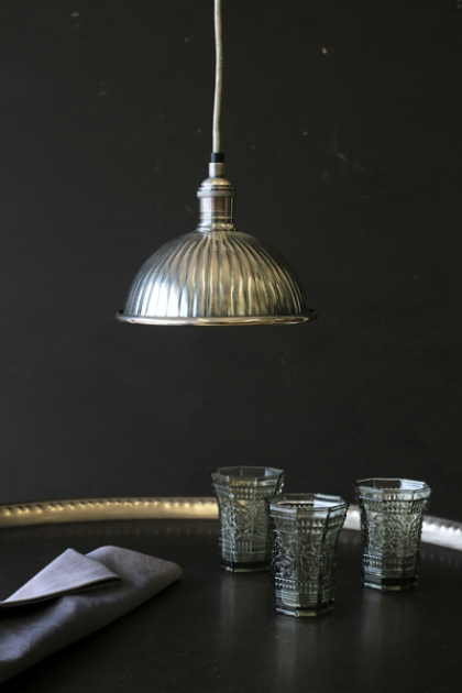 Ribbed Antiqued Silver Ceiling Pendant Light