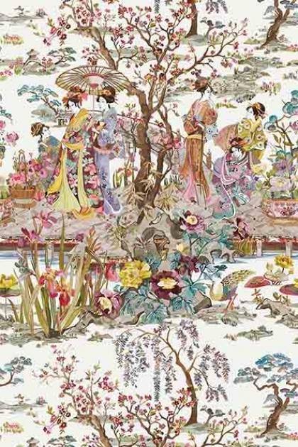 cutout Image of Osborne & Little Japanese Garden Wallpaper - Brown multicoloured oriental style tree