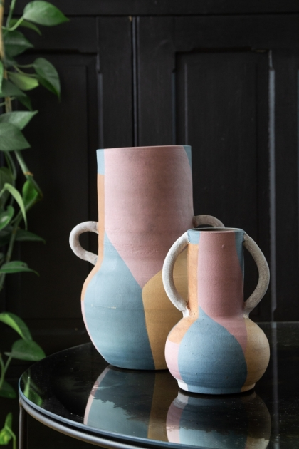 Image of the Small & Large Abstract Art Terracotta Vases With Handles