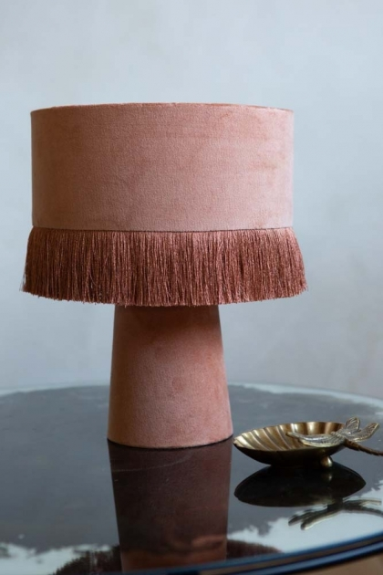 Lifestyle image of the Dusky Rose All Over Velvet Table Lamp With Fringe