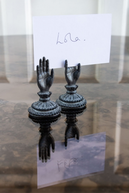 Lifestyle image of two Antique Style Hand Place Name Card Holders