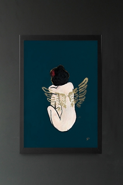 Image of the Fragility Art Print by Rebecca Sophie Leigh in a frame hung on the wall