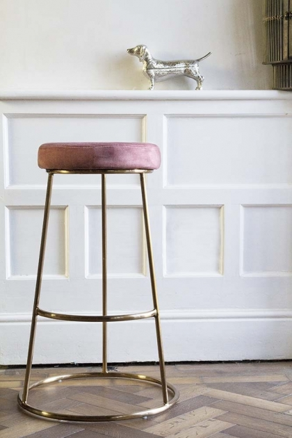 Lifestyle image of the Rose Pink Atlantis Velvet Bar Stool
