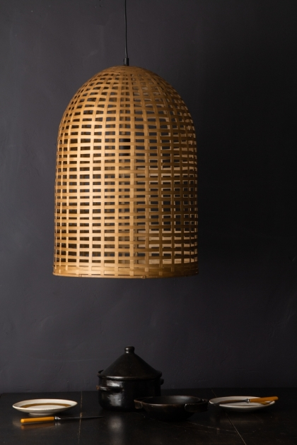 Lifestyle image of the Beautiful Big Bell Bamboo Ceiling Light