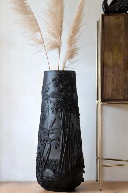 Lifestyle image of the Giant Beautiful Black 3D Jungle Vase
