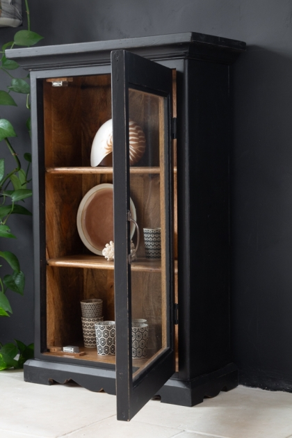 Lifestyle image of the Black Wooden Glass Display Cabinet with the door open