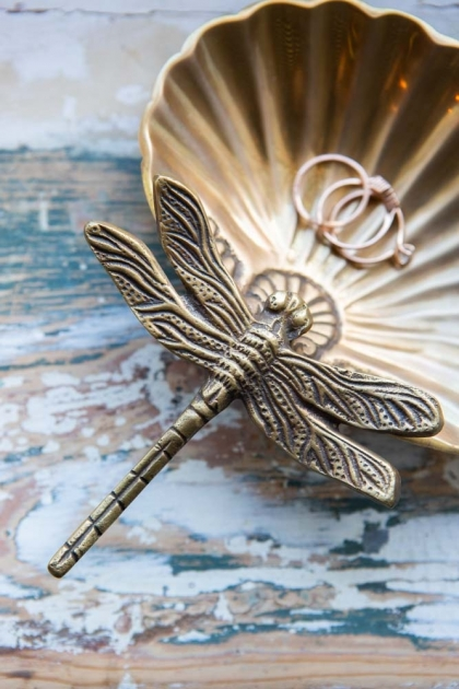 Lifestyle image of the Beautiful Brass Dragonfly Trinket Tray
