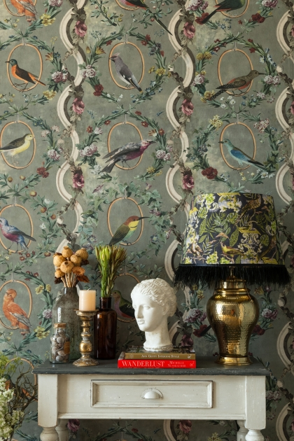 Lifestyle image of the Mind The Gap Countesse's Avaiuium Wallpaper in Mint