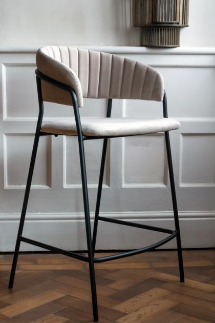Lifestyle image of the Curved Back Velvet Bar Stool In Mink Grey