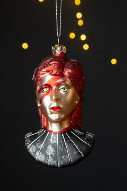 Front facing image of the Ziggy Hanging Christmas Tree Decoration on a dark background