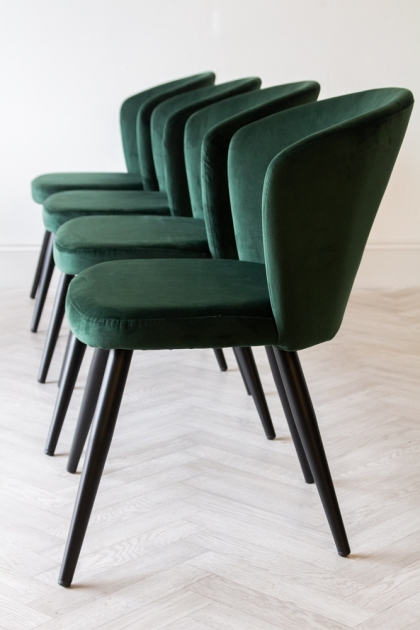 Image of the Rich Green Deco Velvet Dining Chairs in a row