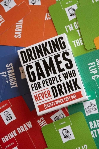Image of the box and the cards from Drinking Games For People Who Never Drink (Except When They Do)