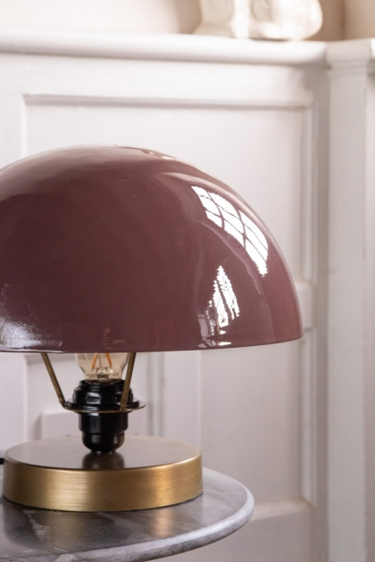 Close-up lifestyle image of the Dusky Pink Button Mushroom Table Lamp
