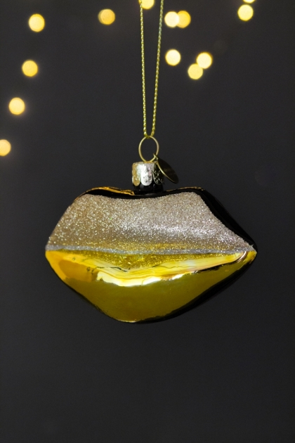 Image of the Gold & Silver Lips Christmas Decoration