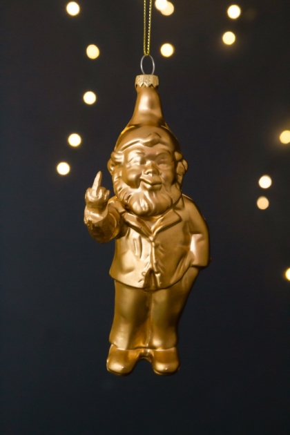 Image of the Gold Naughty Gnome Christmas Decoration