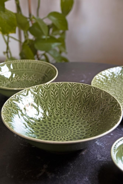 Lifestyle image of the Moss Green Fern Leaf Design Large Bowl