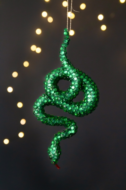 Image of the Green Rhinestone Snake Christmas Decoration