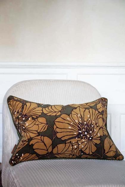 Lifestyle image of the Khaki Green Dahlia Velvet Printed Cushion
