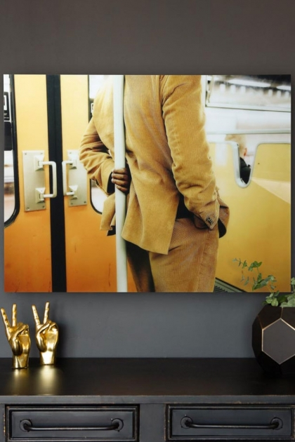Lifestyle image of the Man On A Tram Art Print