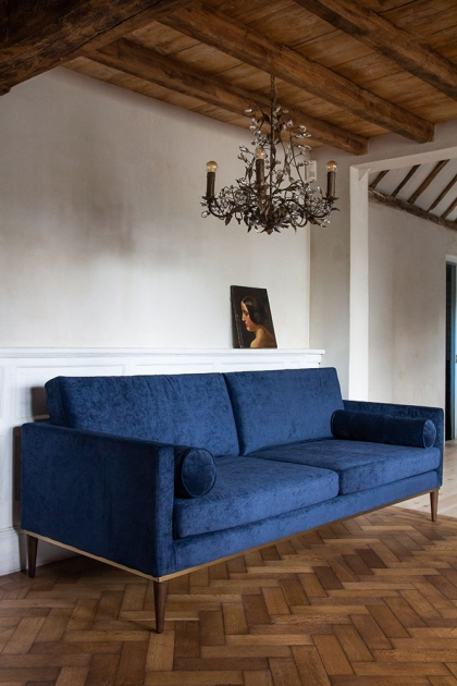 Angled lifestyle image of the Midnight Blue Danish Design 3 Seater Sofa