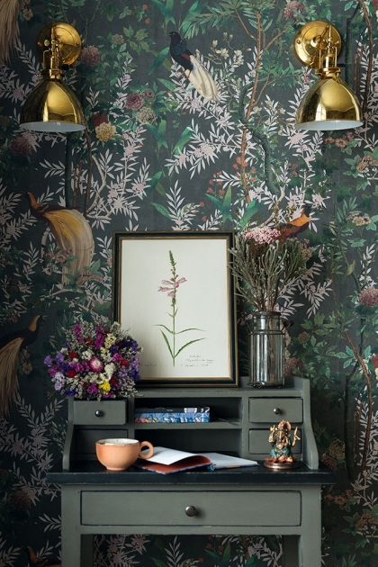 Lifestyle image of the Mind The Gap Royal Garden Wallpaper in Green