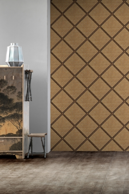 Lifestyle image of the NLXL Framed Webbing Wallpaper by Mr & Mrs Vintage