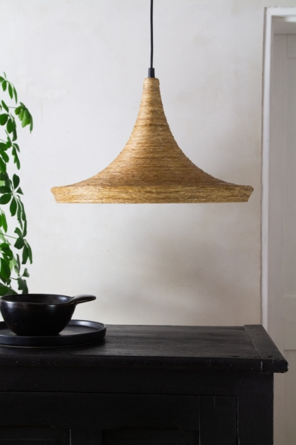 Lifestyle image of the Natural Texture with Gold Interior Ceiling Light - Drop Design